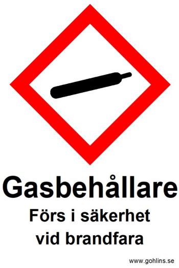 """SKYLT """"GASFLASKOR FÖRS I SÄKERHET"""" 148x210mm"""